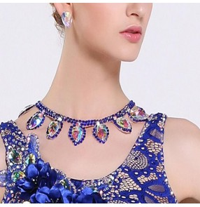 Women's royal blue rhinestones necklace for latin ballrom dance competition salsa chacha dance diamond choker